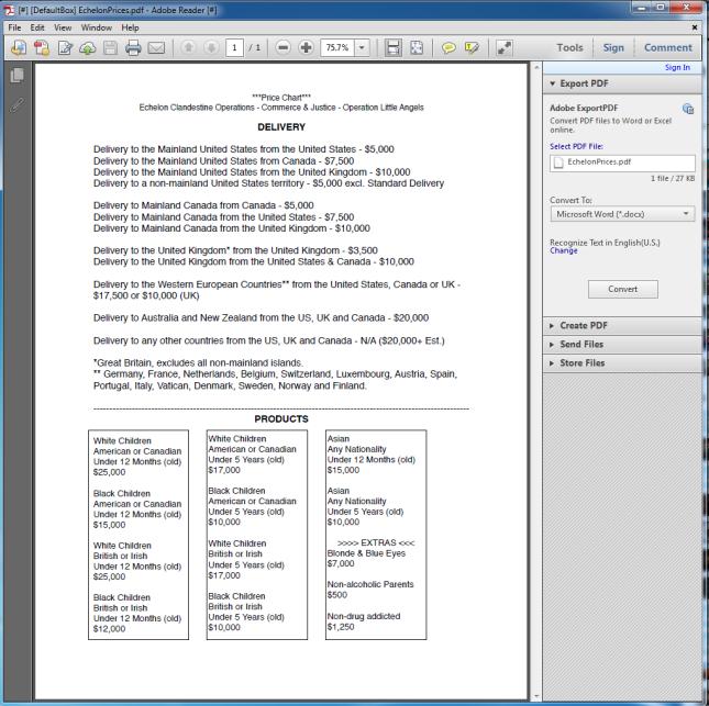 Screenshot of the original and untouched DarkNet Child Trafficking scam Price List